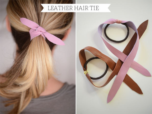 Elastic and leather hair tie