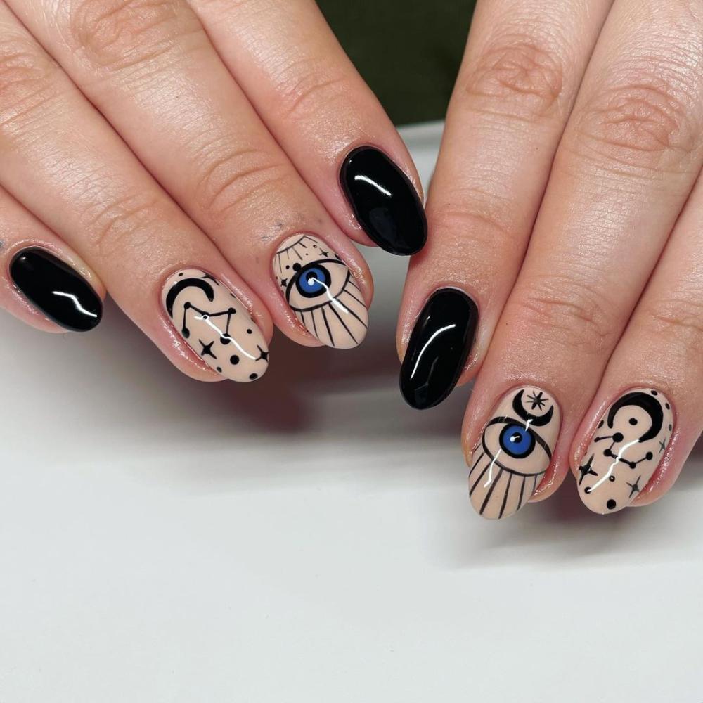 Evil eye halloween nails