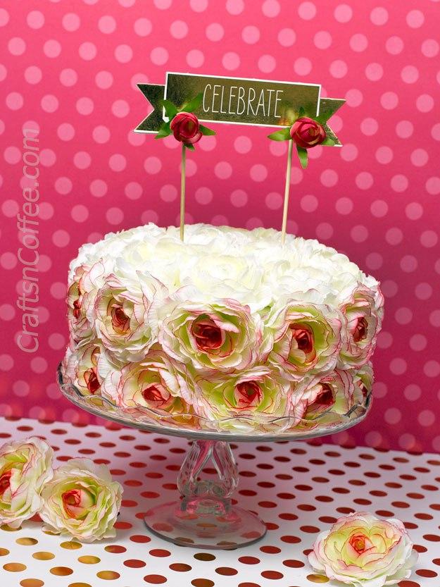 Faux flower cake