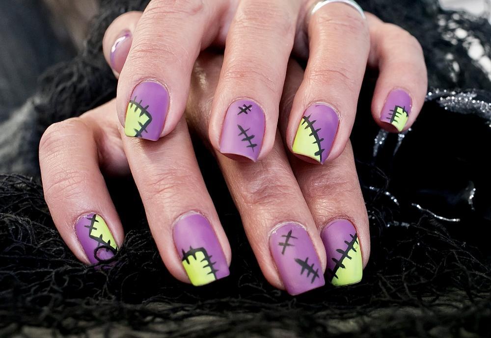 Frankenstein halloween themed nails