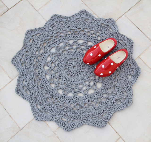 Giant crocheted doiley rug