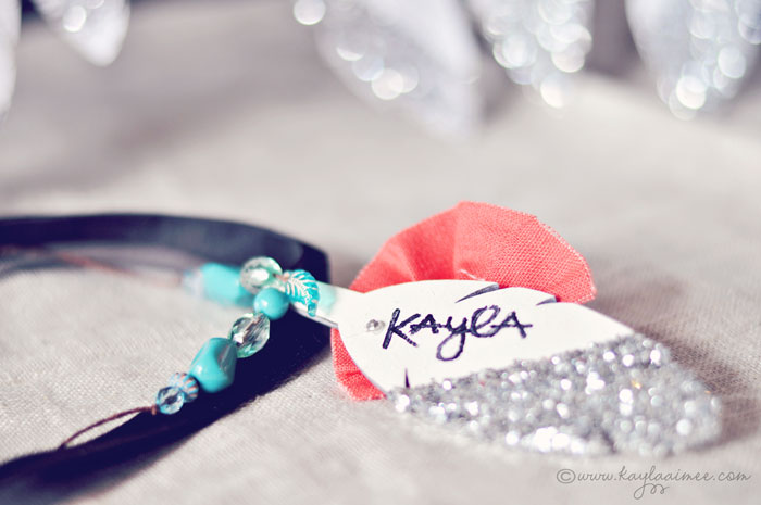 Glitter feather necklace names