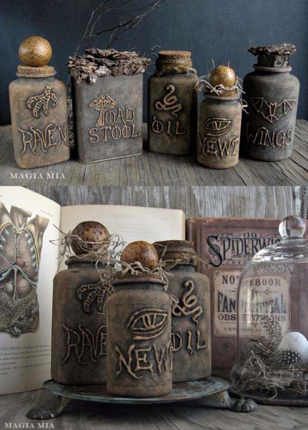 Glue gun and chalk paint witch bottles