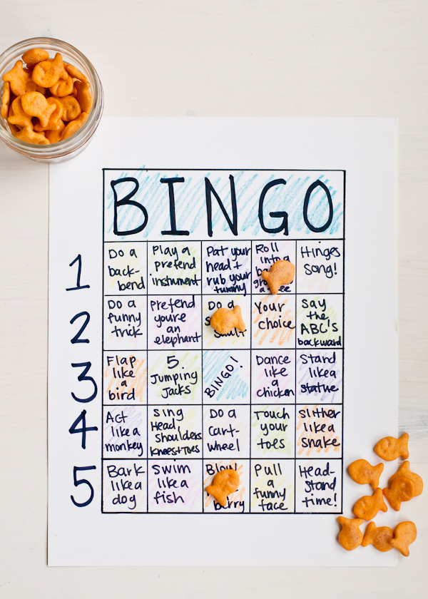 Goldfish cracker action bingo
