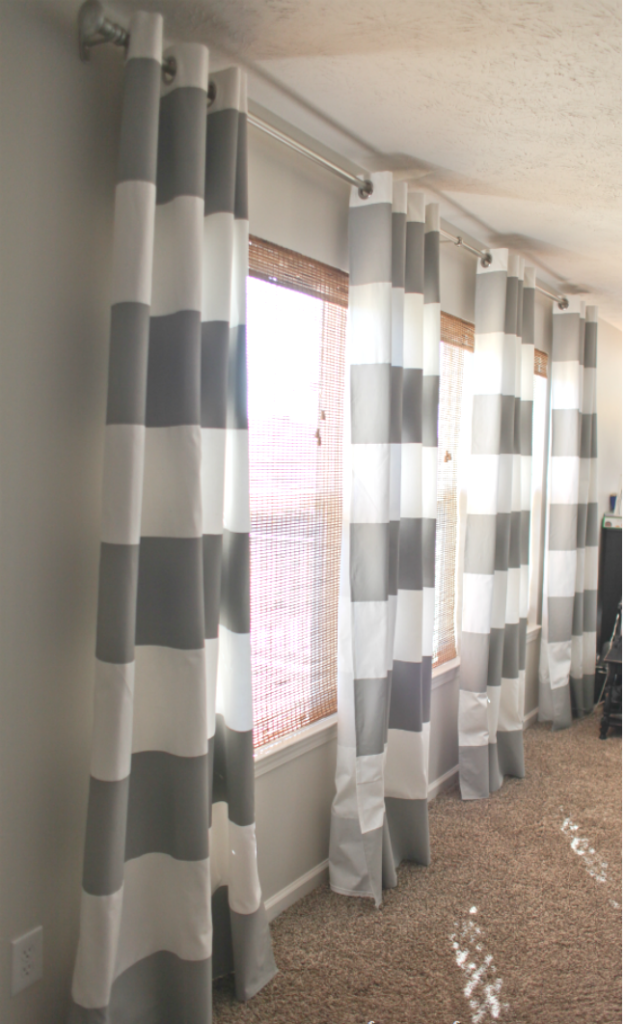 Gray paint striped curtains