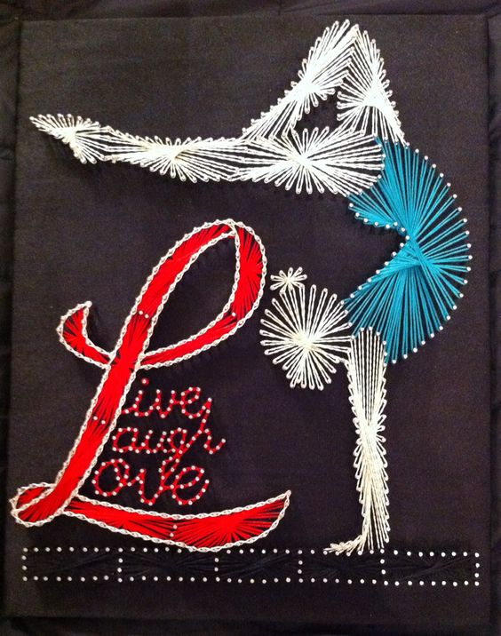 Gymnast pin and embroidary thread art