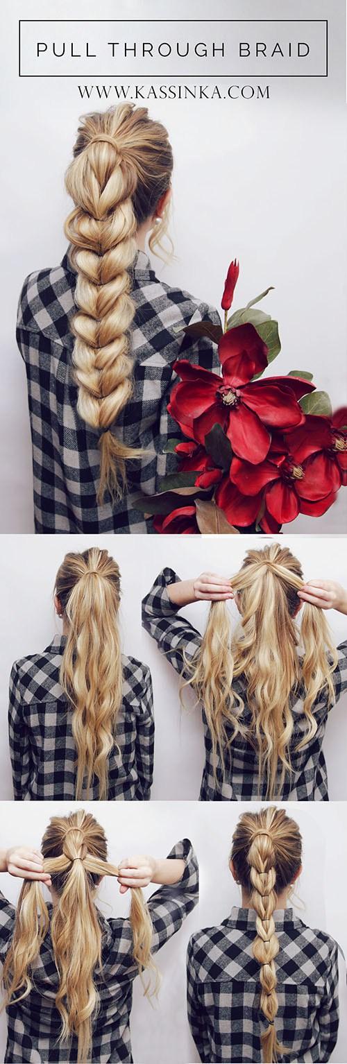 Hair tutorial pull through braid ponytail Pretty Hairstyle