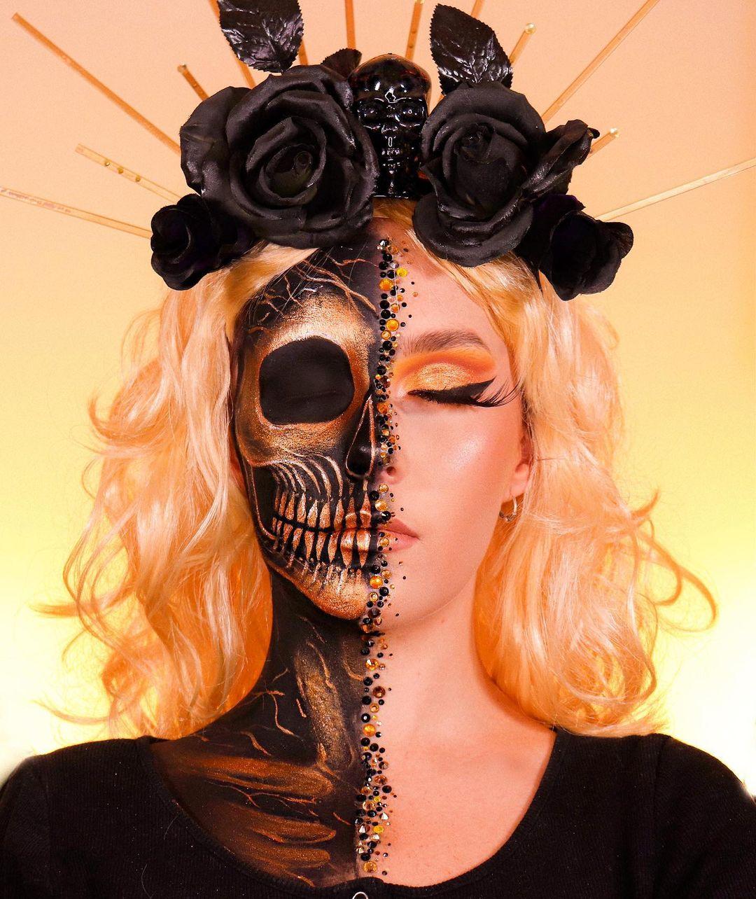 Half face halloween makeup the soul stone