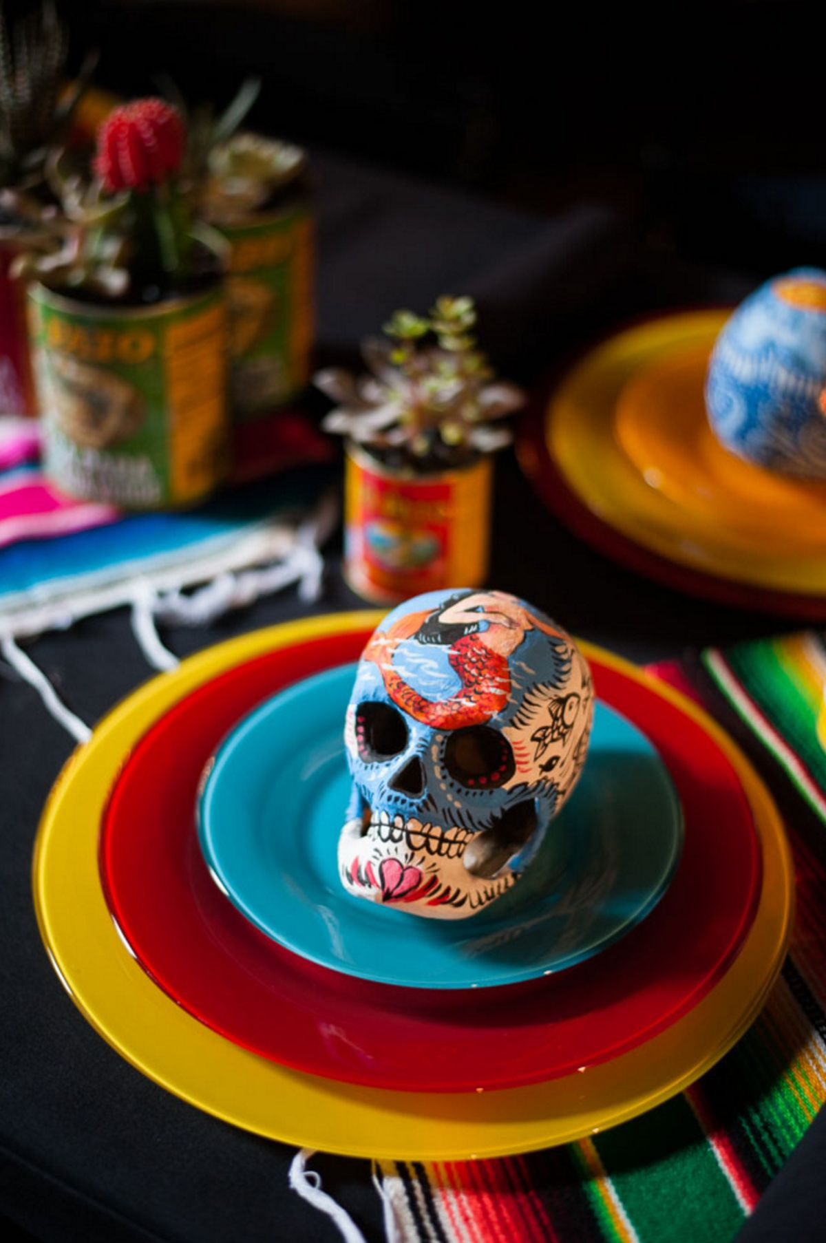 Halloween party skull table
