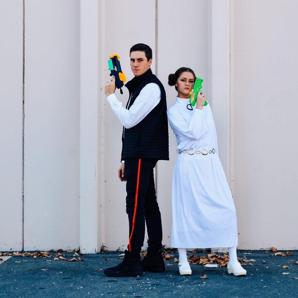 Han solo and princess leia easy couple halloween costumes