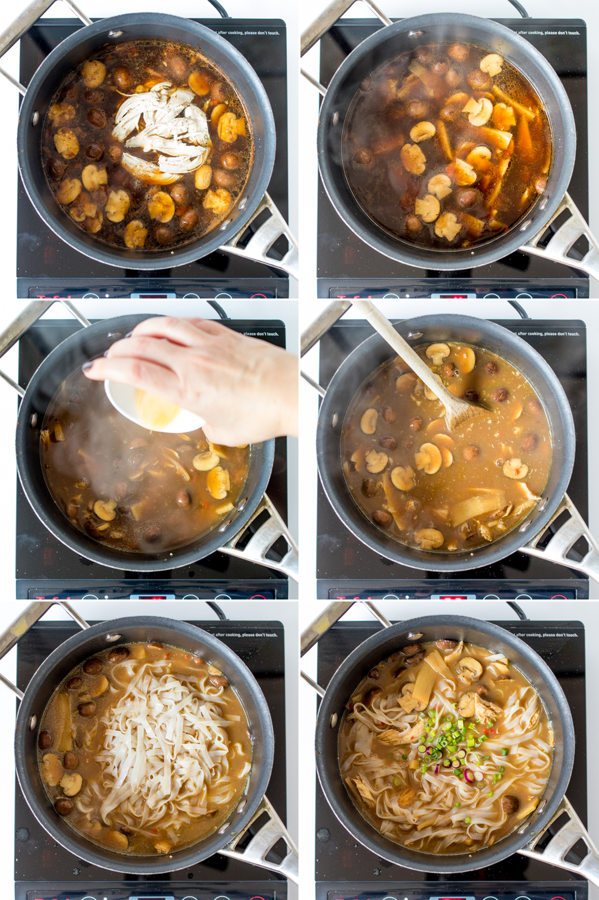 Hot and sour chicken noodle soup step2 collage