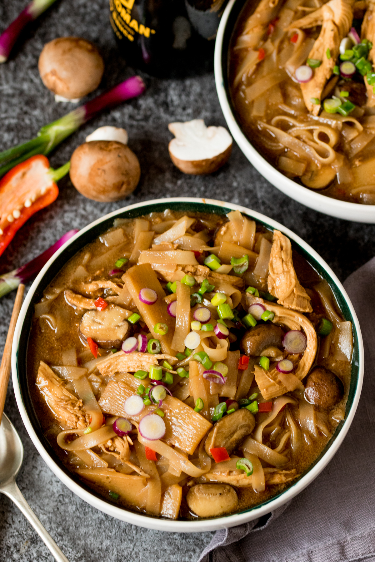 Hot and sour chicken noodle soup finished tall