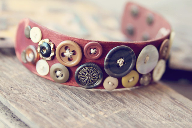 Leather button cuff