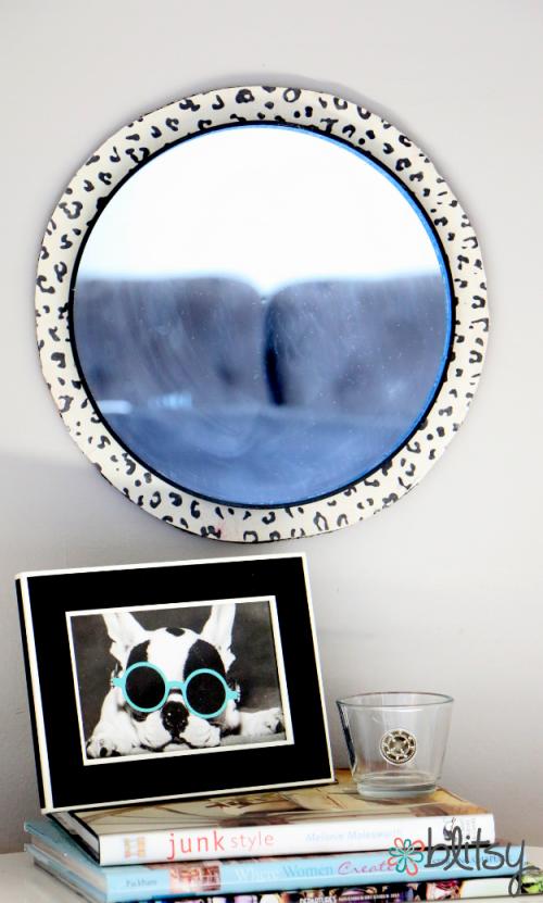 Leopard mirror frame