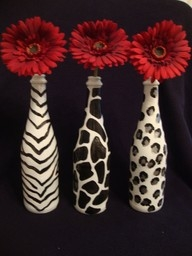 Leopard painted wine bottle vases