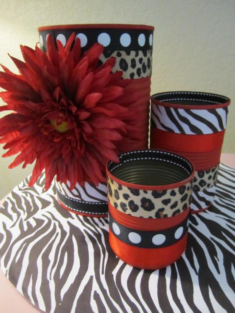 Leopard ribbon storage cans