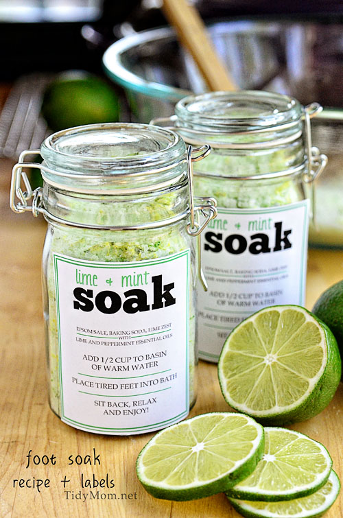 Lime and mint foot soak