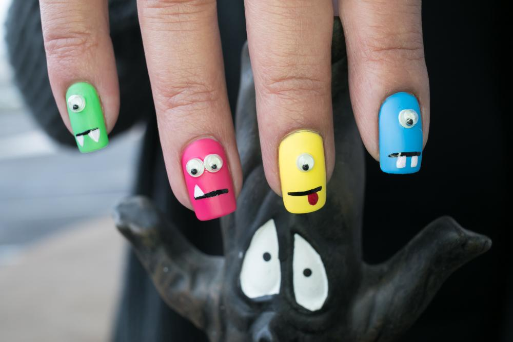 Little monster faces cute nail ideas