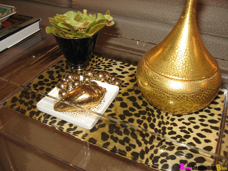 Lucite leopard display tray