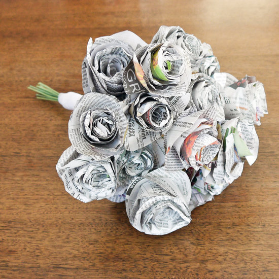 Newspaper flower bouquet