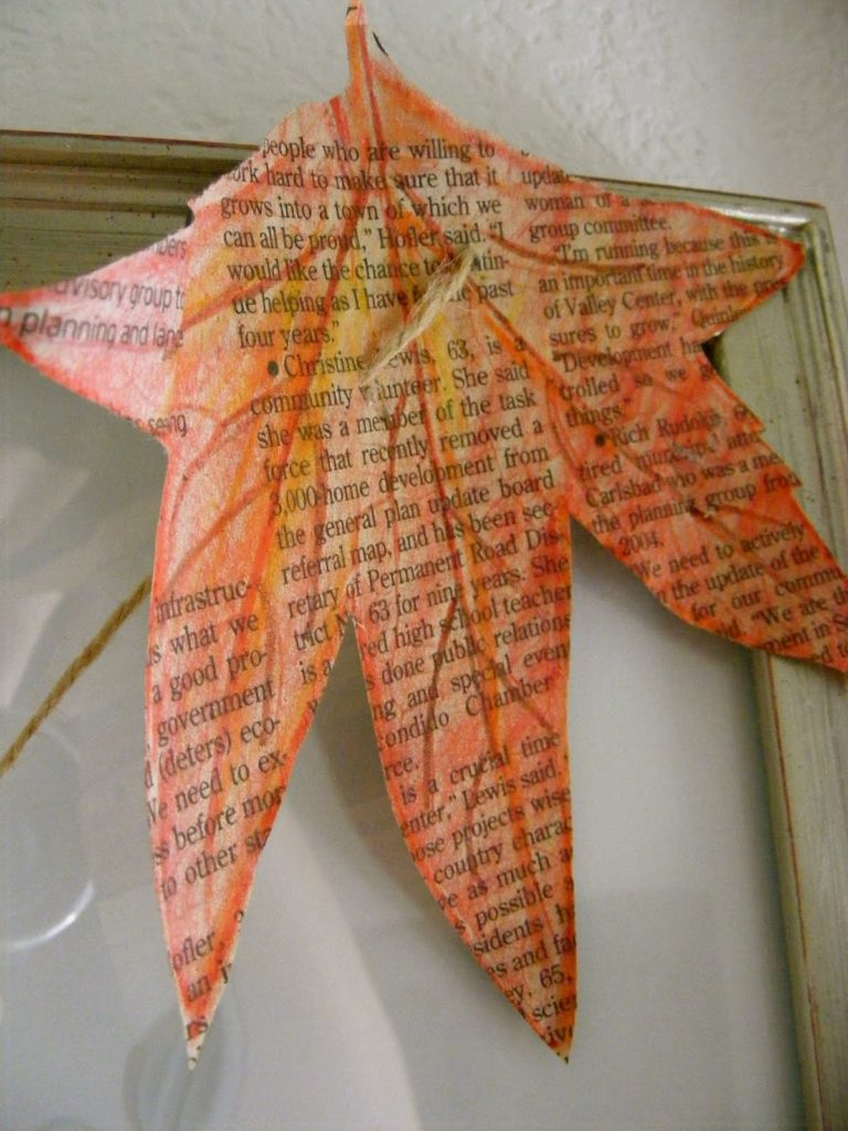 Newspaper leaf decor