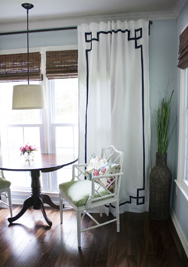 No sew greek key curtain panels