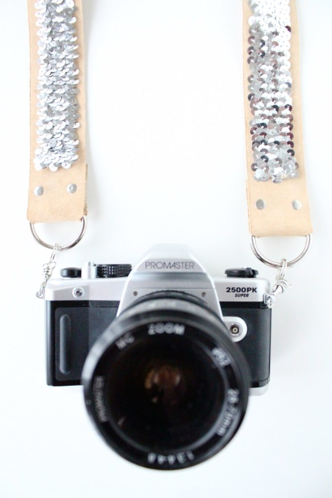 No sew sequinned camera strap