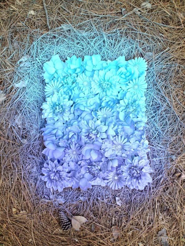 Ombre faux flower wall art