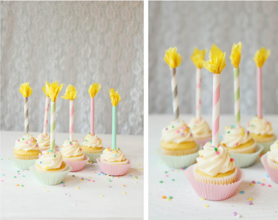 Paper straw cupcake candles