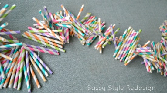 Paper straw party garland