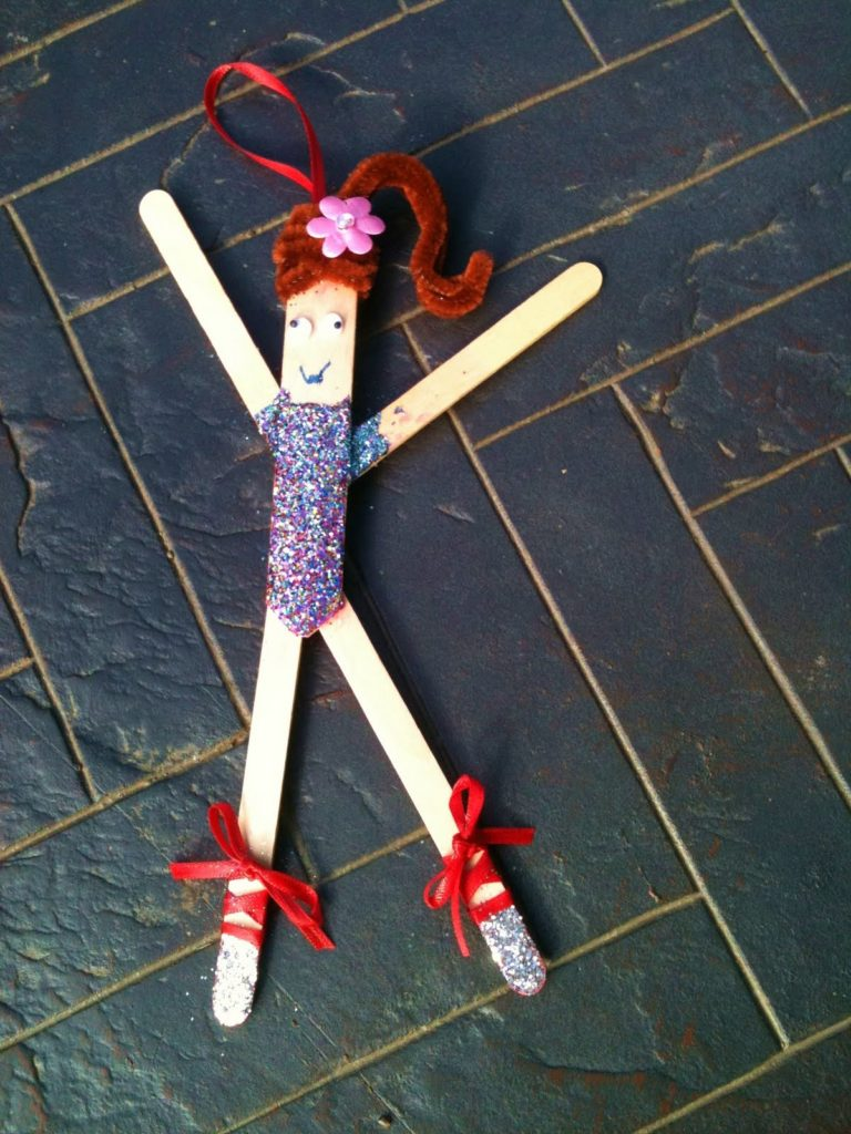 Popsicle stick gymnast ornament