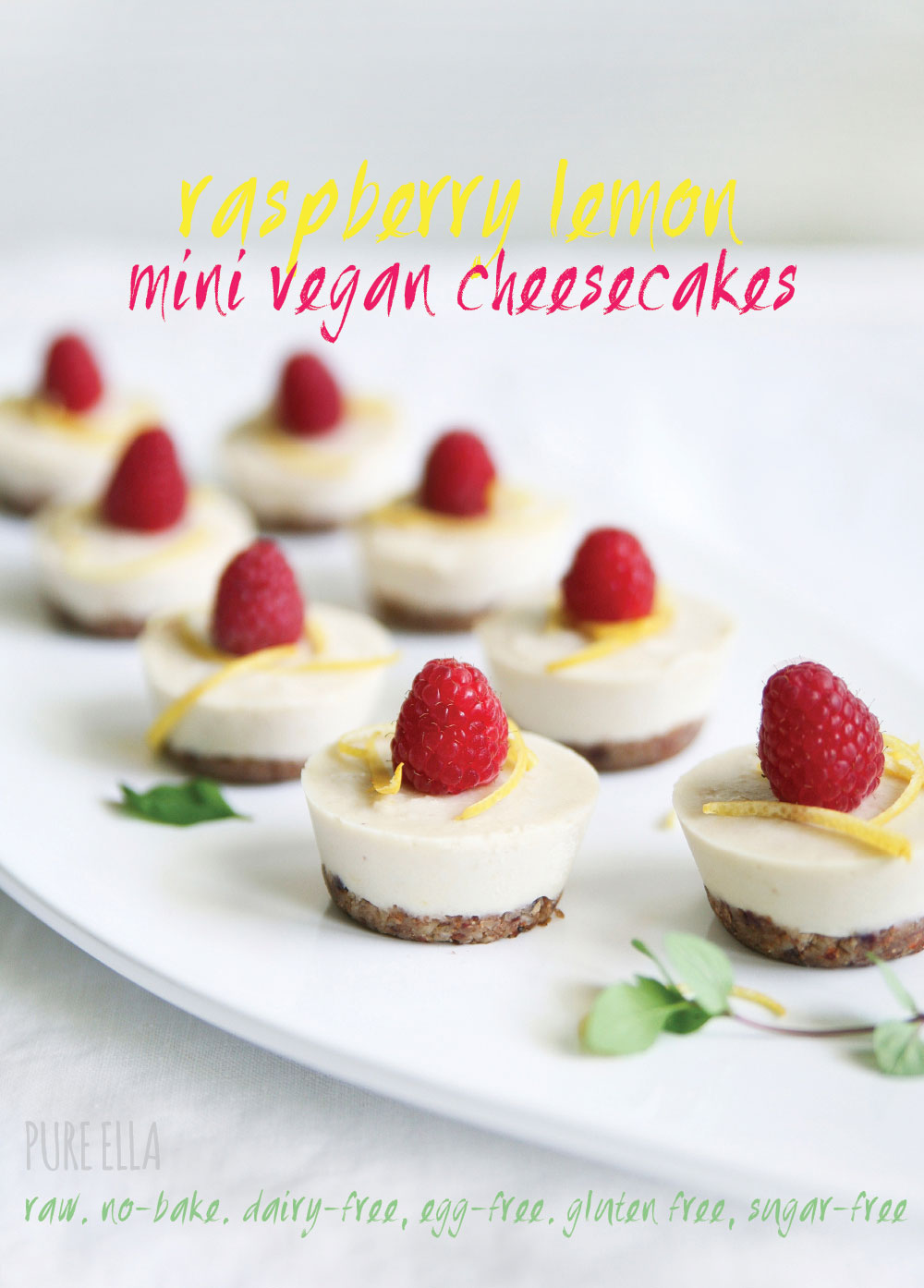 Pure ella raw raspberry lemon raw vegan cheesecakes