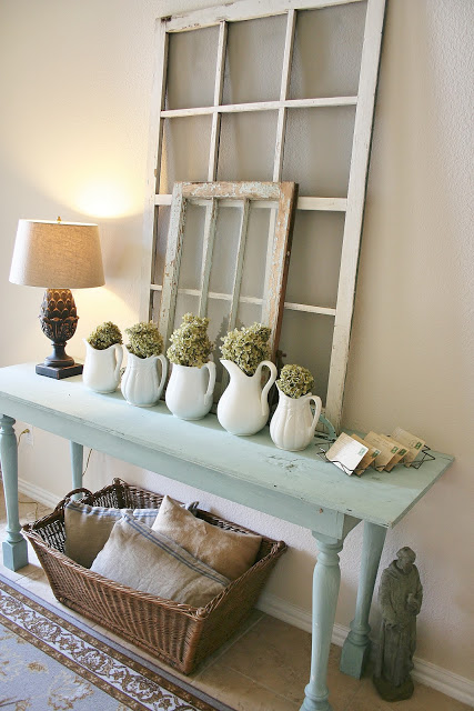 Reclaimed window frame entryway decor