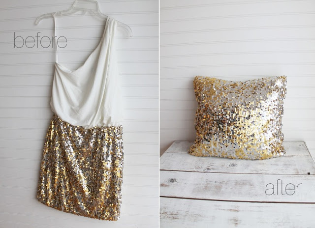 Skirt to pillow sequin transformation