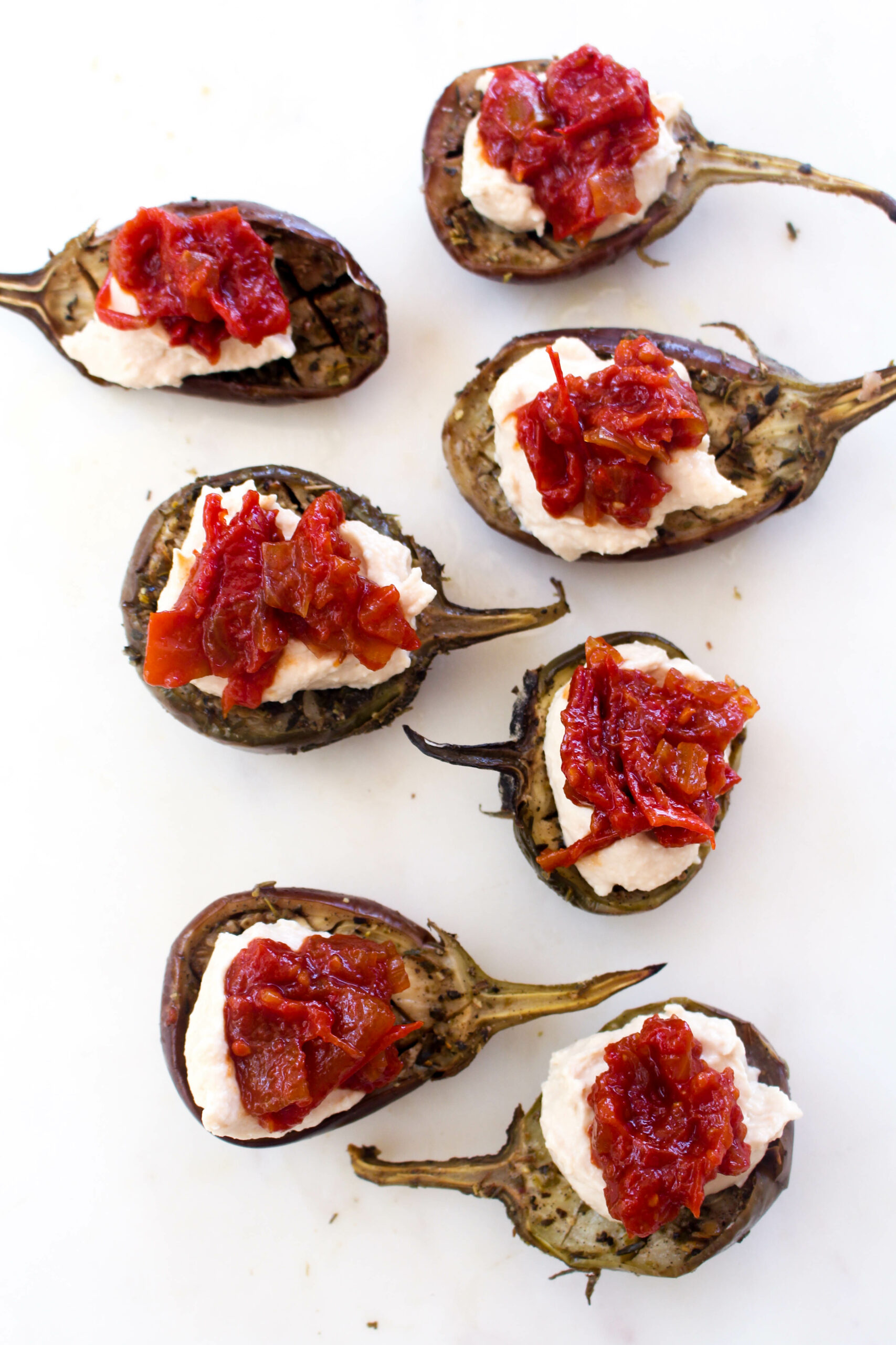 Slow roasted eggplant with hummus and tomato jam tomato jam