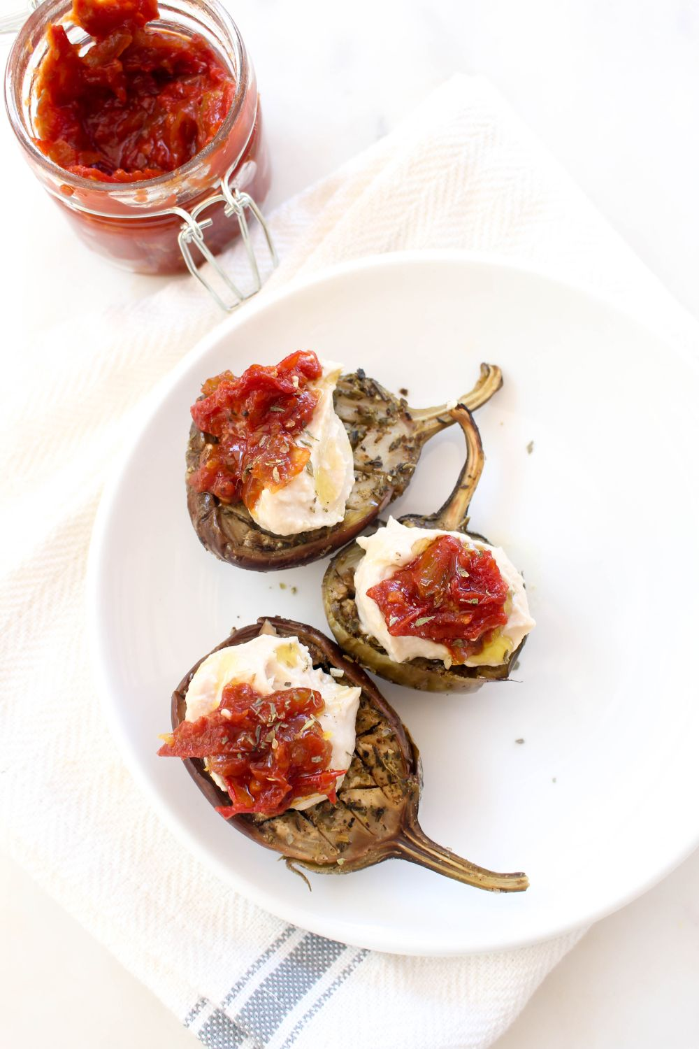 Slow roasted eggplant with hummus and tomato jam