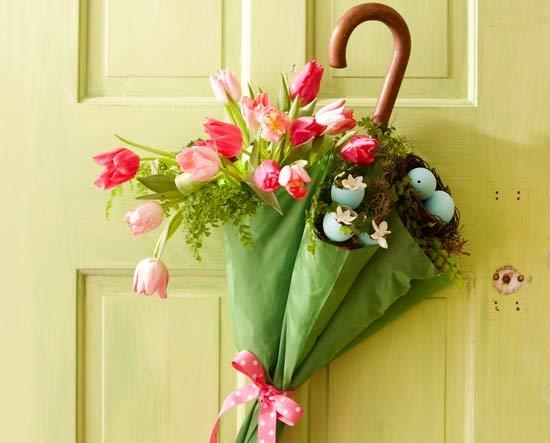 Spring flower door decor
