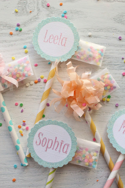 Sprinkle packet cupcake toppers