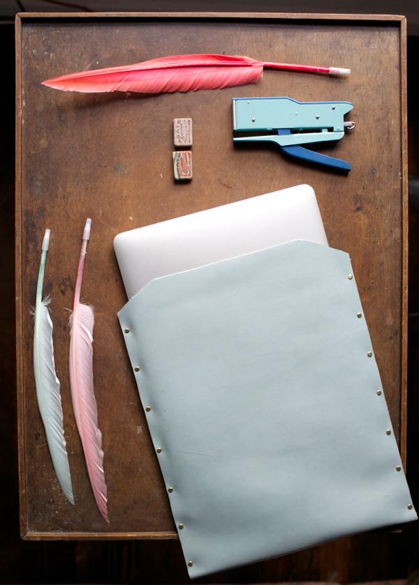 Stud sided leather sleeve