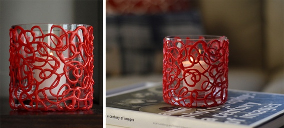 Textured hot glue votives