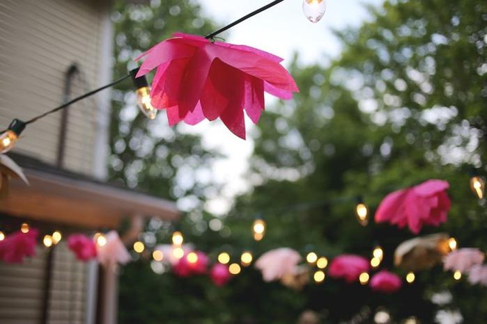 Tissue paper flower patio lights