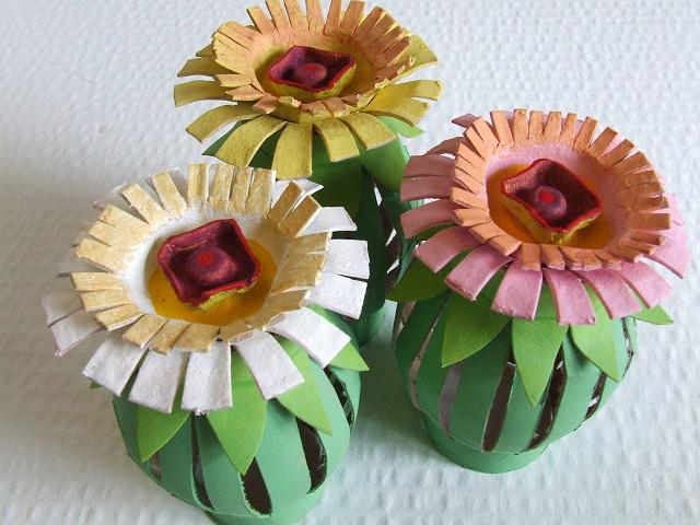 Toilet paper roll and egg carton flowers