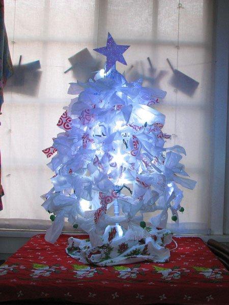 Umbrella and plastic bag christmas tree