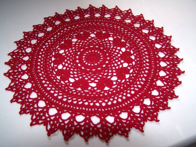 Valentine ring of hearts crochet doily