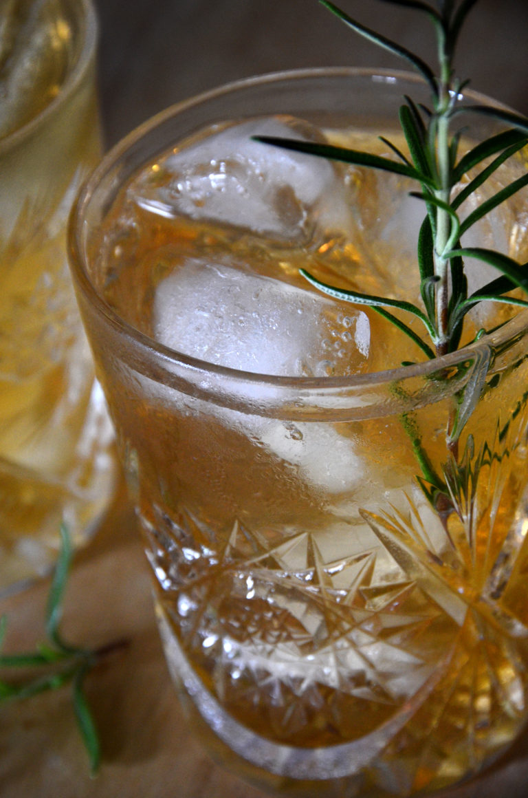 Witches brew halloween cocktail with rosemary