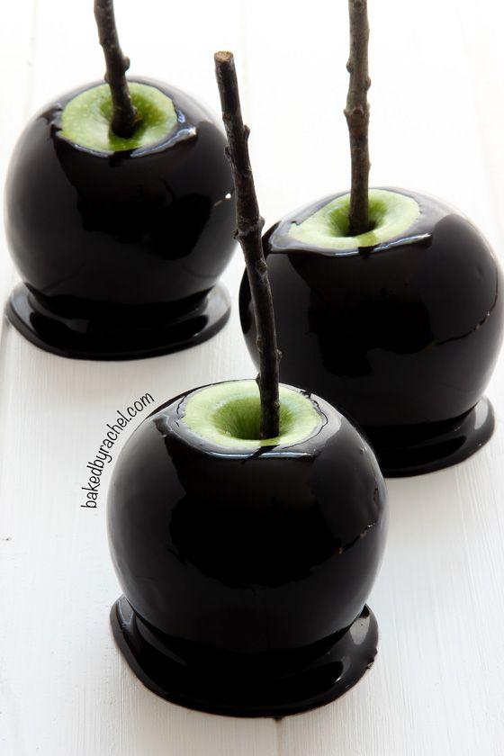 Black caramel apples halloween treats