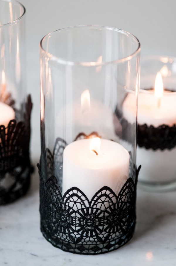 Black lace candles halloween decor
