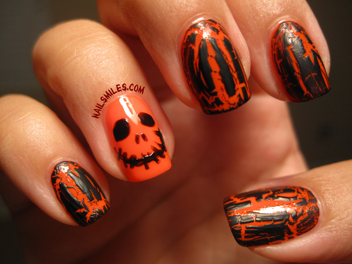 Black orange crackle manicure