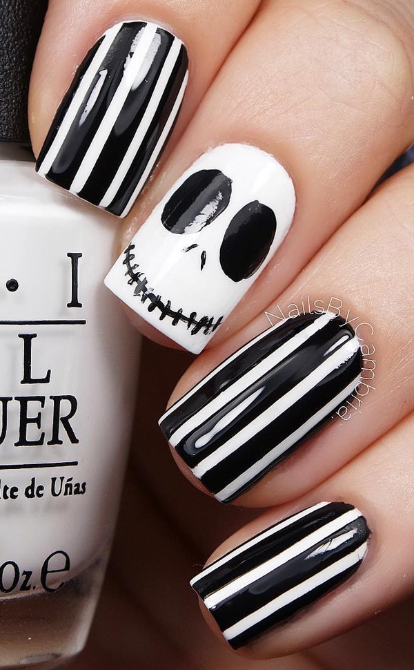 Black white striped ghost nails