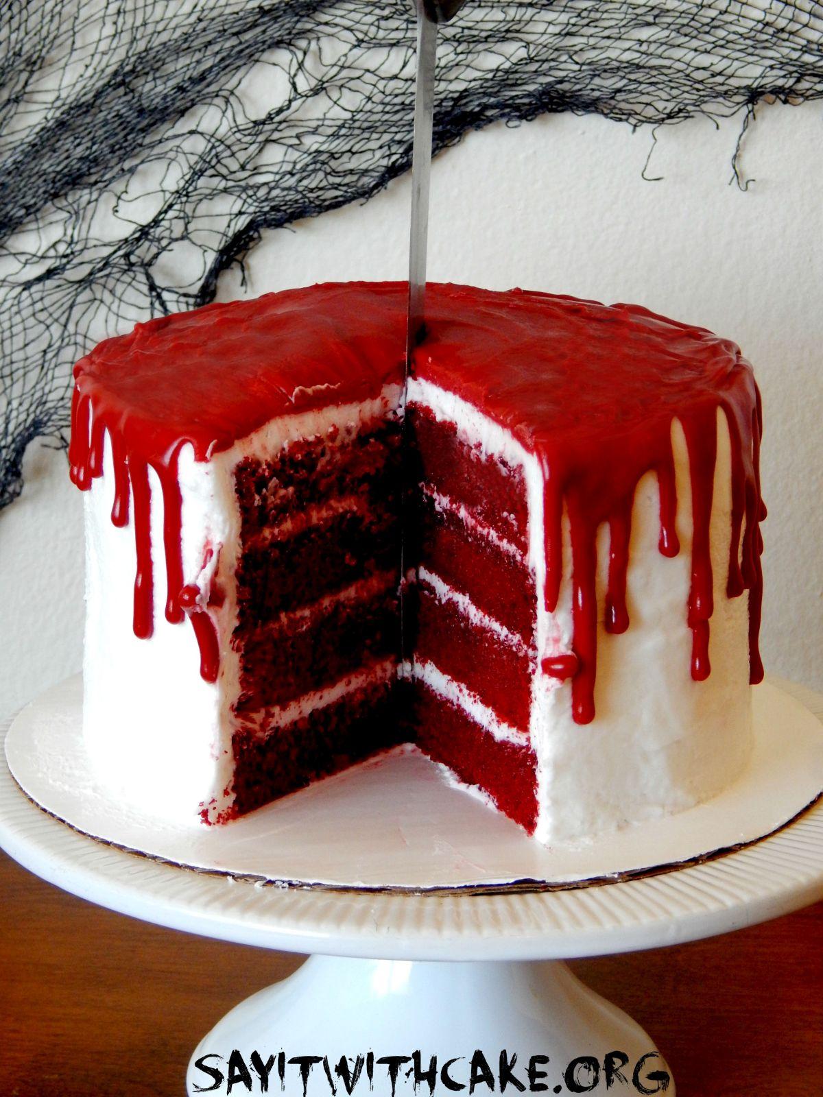 Bloody cake halloween treats